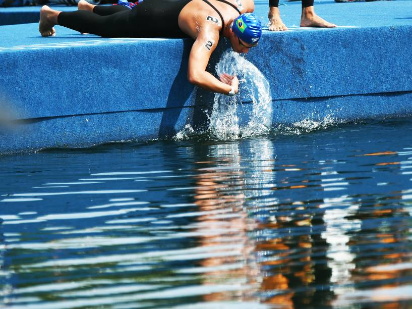 Samuel Menegon de Bona, durante os 10 km da maratona aquática masculina em Toronto