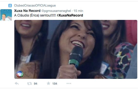Meme da estreia do programa Xuxa Meneghel, na Record, com Cláudia, que na verdade se chama Érica