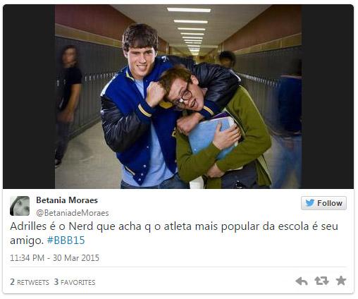 Meme ironiza posição de Adrilles diante de Fernando, que ele poupou de voto por ser amigo, no BBB15
