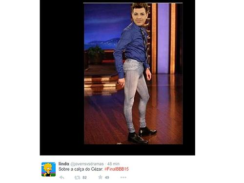 Calça que Cézar usou na final vira piada no Twitter