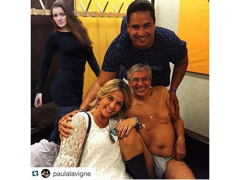 Nana Gouvêa, a musa dos desastres, aparece na fatídica foto de Caetano Veloso com Carla Perez e Xanddy