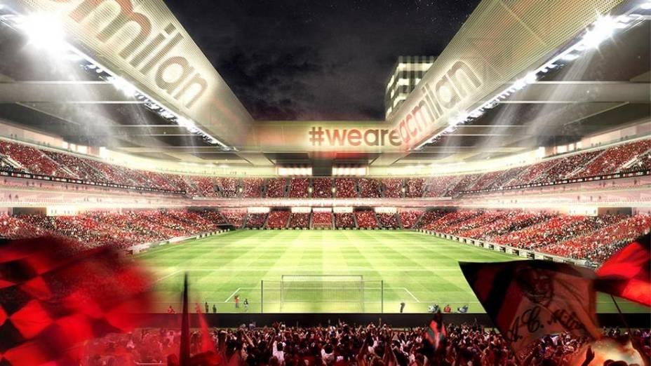 Projeto do futuro estádio do Milan, que terá capacidade para 48.000 espectadores