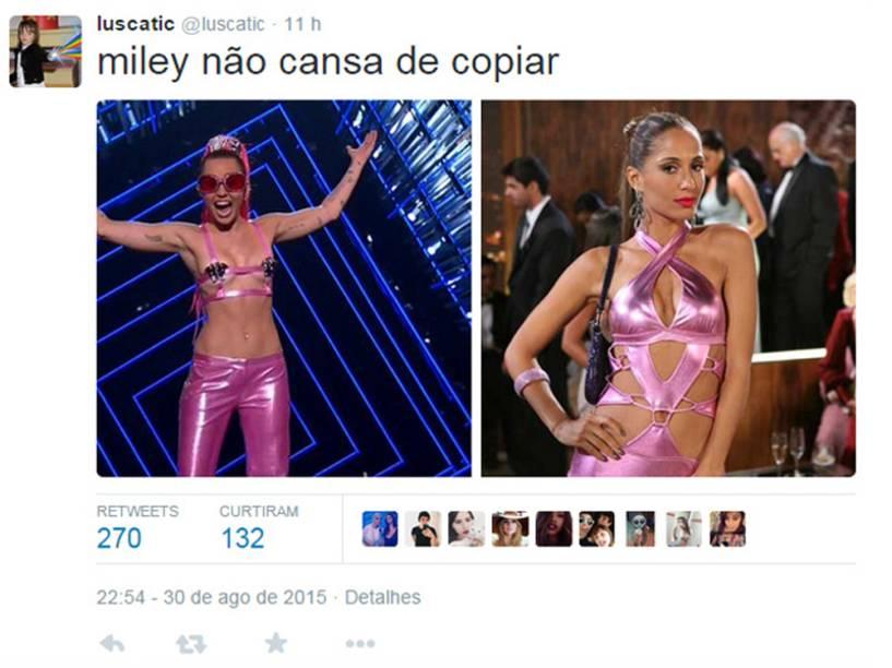 Depois, Miley mudou de roupa, e os fãs brincaram com a semelhança entre ela e a personagem Bebel, a garota-de-programa vivida por Camila Pitanga