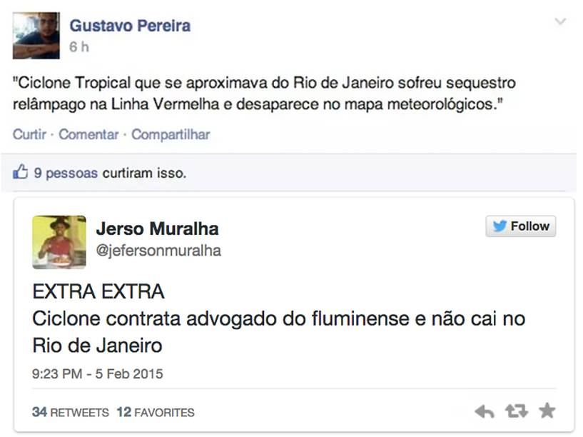 Memes ironizam previsão da passagem de um ciclone no Rio de Janeiro
