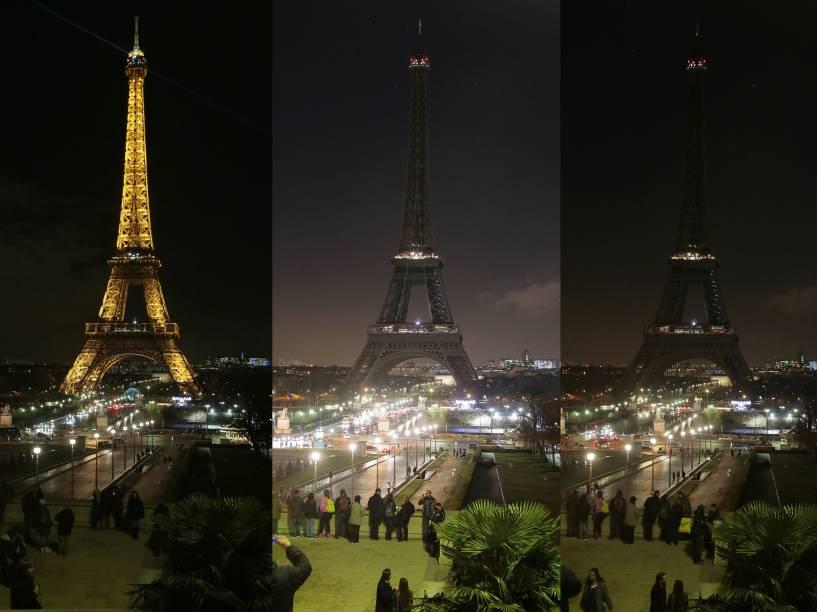 Torre Eiffel é apagada em homenagem às vítimas do atentado à Charlie Hebdo - 08/01/2015