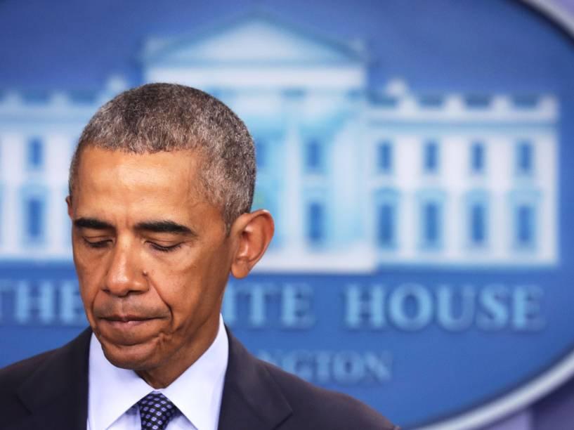 O presidente dos Estados Unidos, Barack Obama, realiza pronunciamento na Casa Branca, para falar sobre o massacre na boate Pulse, em Orlando, Flórida - 12/06/2016
