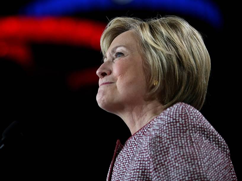 Candidata democrata à presidência dos Estados Unidos, a ex-secretária de Estado Hillary Clinton fala durante encontro das primárias em Nova York - 19/04/2016