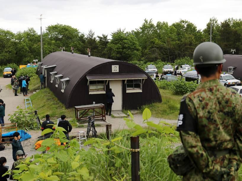 Base militar na cidade japonesa de Shikabe em Hokkaido local onde o menino de sete anos desaparecido passou quase uma semana abrigado - 03/06/2016<br><br>