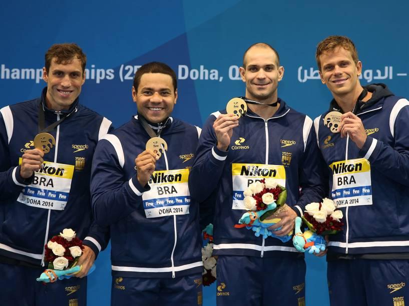 4x50 m medley: Guilherme Guido, Felipe França, Nicholas Santo e Cesar Cielo