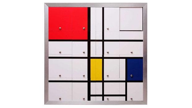 Obra Homenagem a Mondrian 2 de Nelson Leirner