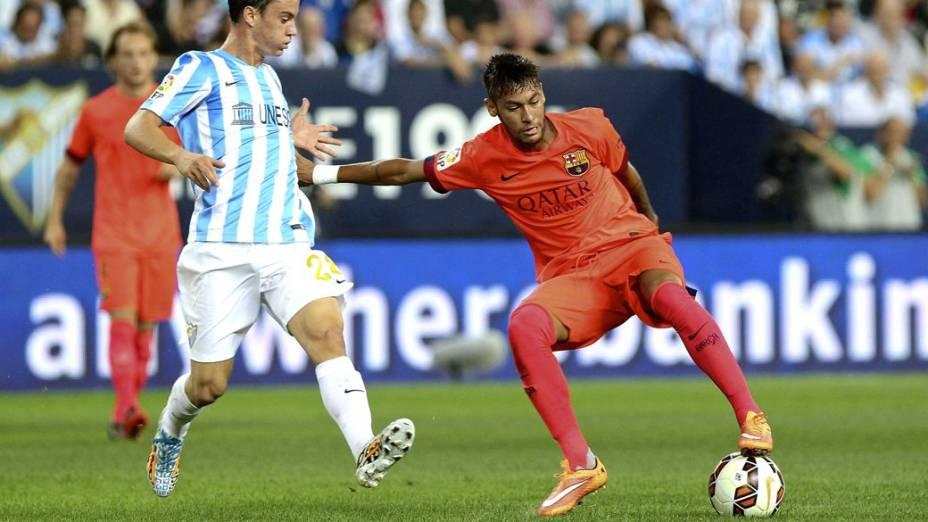 Neymar no empate entre Barcelona e Málaga pelo Campeonato Espanhol