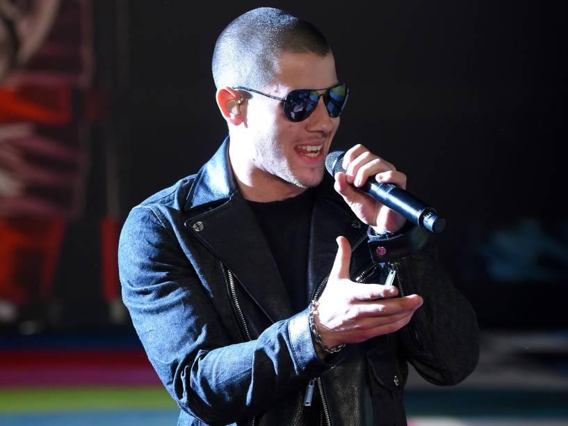 Nick Jonas no Video Music Awards, da MTV, em Los Angeles, neste domingo (30)