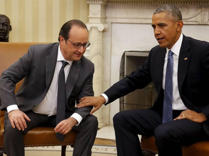 Os presidentes dos EUA, Barack Obama, e da França, François Hollande, estão reunidos nesta terça-feira (24) na Casa Branca em Washington (EUA)
