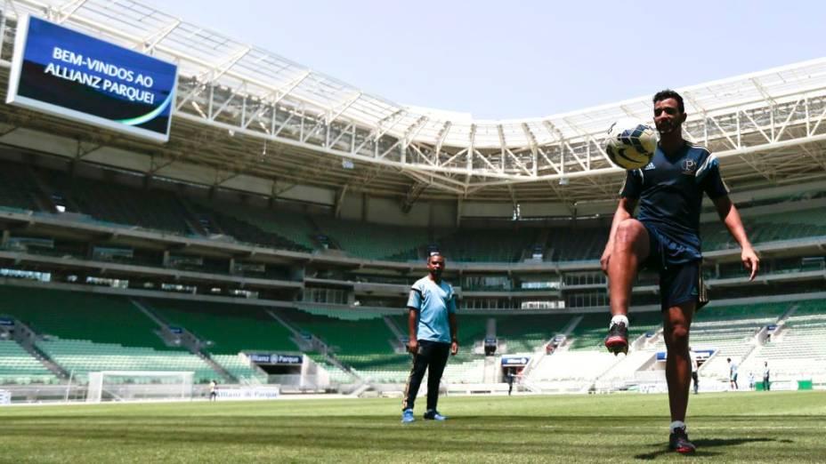 O primeiro treino do Palmeiras em seu novo estádio, nesta quinta-feira