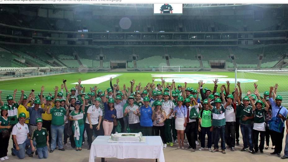 Torcedores celebraram o centenário do Palmeiras no estádio em 26 de agosto