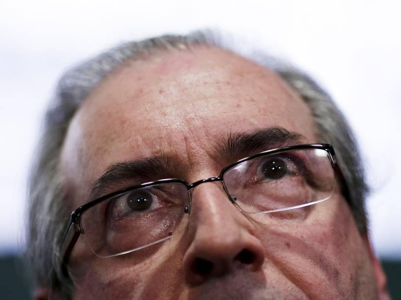 Eduardo Cunha durante coletiva na Câmara em Brasília