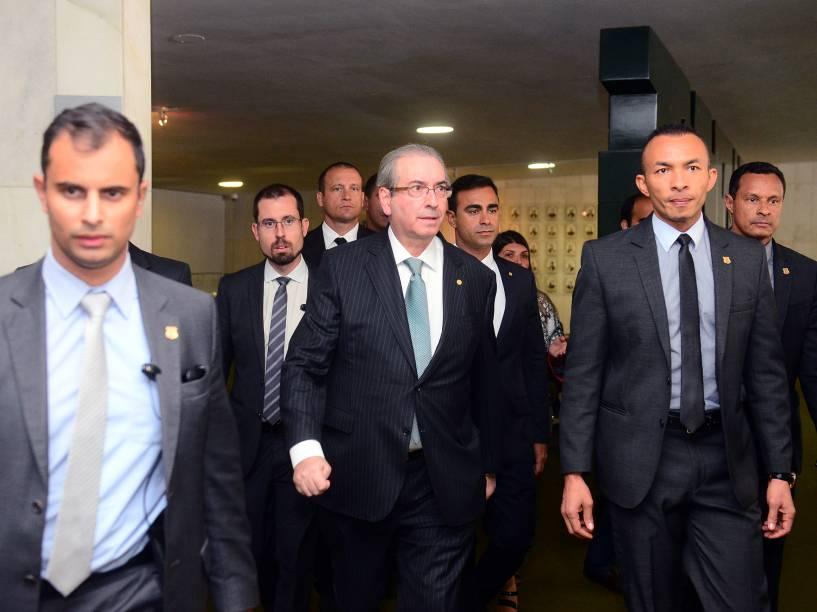 Presidente da Câmara, Eduardo Cunha, chega para Sessão Especial do Impeachment, em Brasília - 17/04/2016