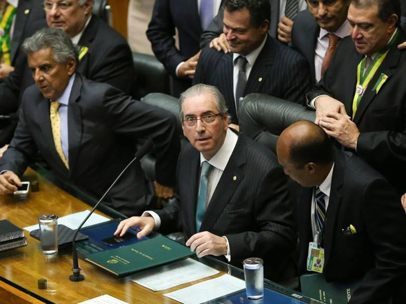 Presidente da Câmara dos Deputados Eduardo Cunha (PMDB/RJ) conduz a sessão de votação ao processo de Impeachment contra a presidente Dilma Rousseff - 17/04/2016