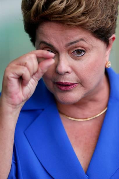 A presidente Dilma Rousseff, candidata à reeleição pelo PT, concede entrevista coletiva no Palácio da Alvorada