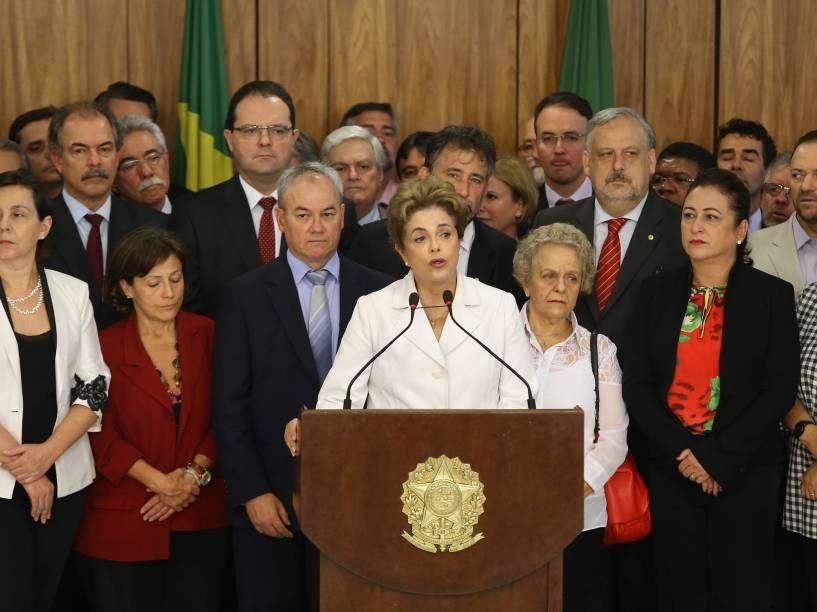 A presidente Dilma Rousseff faz pronunciamento após decisão do Senado Federal pelo seu afastamento do cargo - 12/05/2016