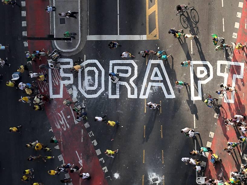 Manifestação contra o governo do PT, em São Paulo