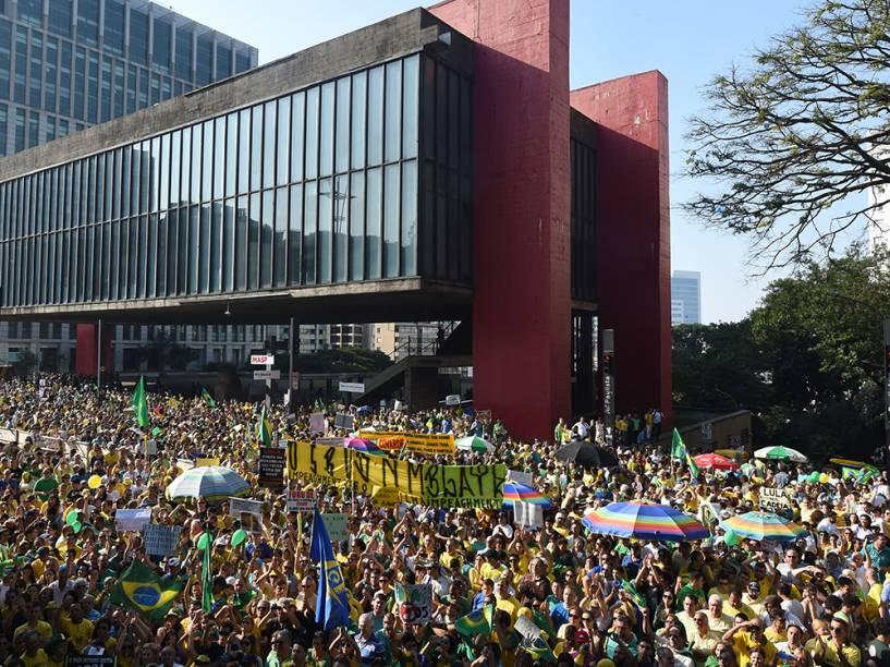 Manifestação em São Paulo contra o governo do PT