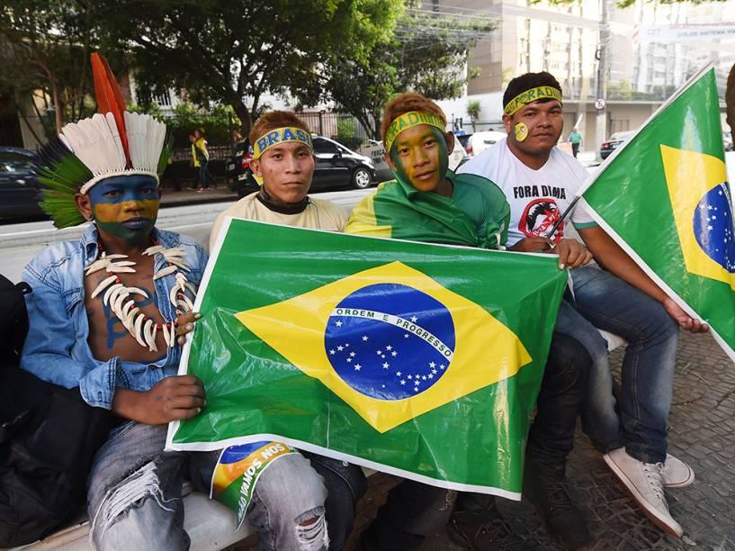 Manifestantes na região da Avenida Paulista, em São Paulo
