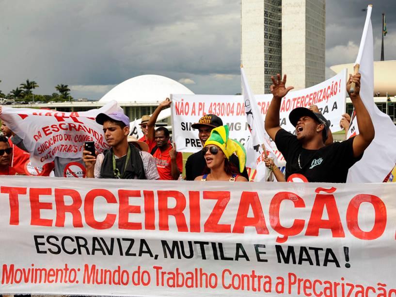 Protesto no gramado em frente ao Congresso Nacional, em Brasília