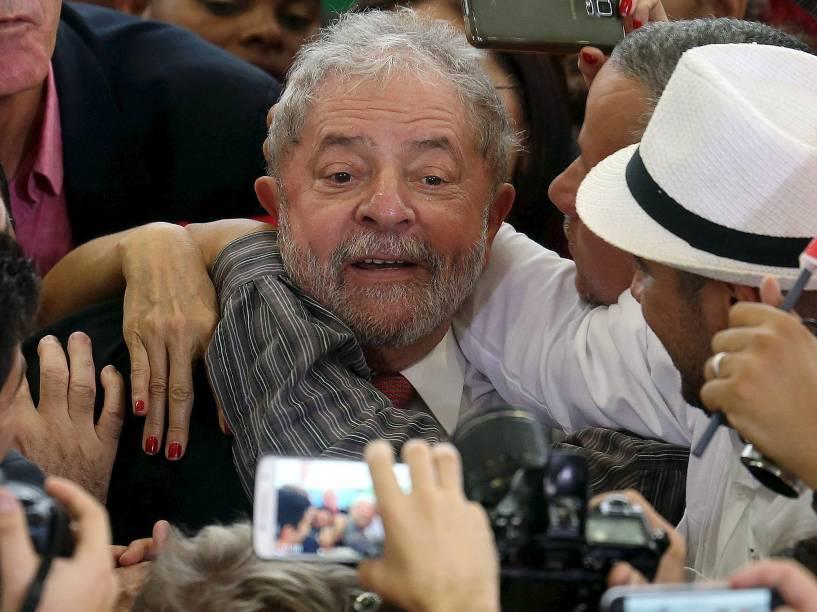 O ex- presidente Luiz Inácio Lula da Silva durante a cerimônia de posse dos novos ministros no Palácio do Planalto, em Brasília