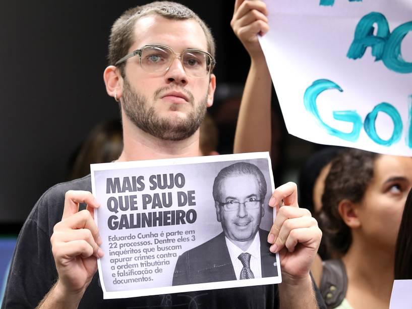 Estudantes acompanharam sessão sobre o processo contra o presidente da Câmara dos Deputados, Eduardo Cunha (PMDB-RJ)
