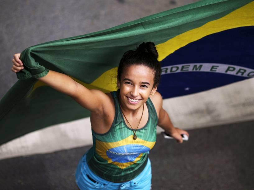 Protesto contra o governo de Dilma Rousseff,em Brasília (DF), na manhã deste domingo (13)