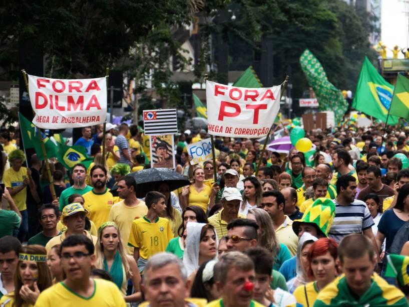 Protesto contra o governo Dilma e a corrupção na Petrobras, ocupa a avenida Paulista - 15/03/2015