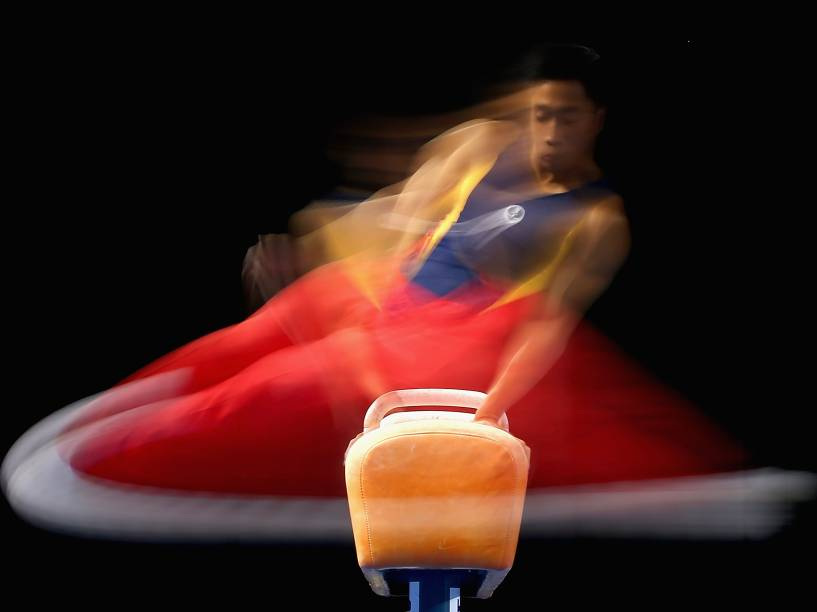 O australiano Christopher Rem no campeonato nacional de ginástica que aconteceu na cidade de Melbourne