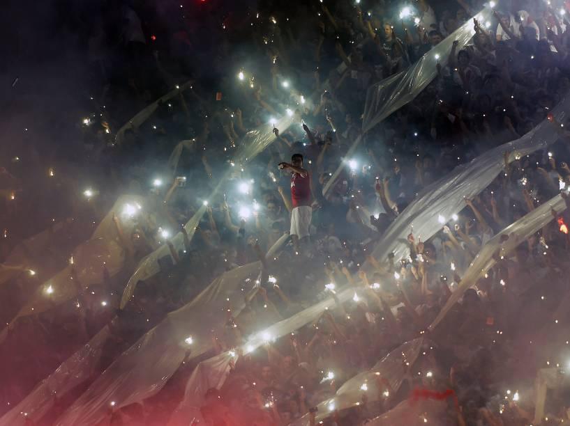 Torcedores do time argentino River Plate durante a Copa Sul-Americana, em Buenos Aires