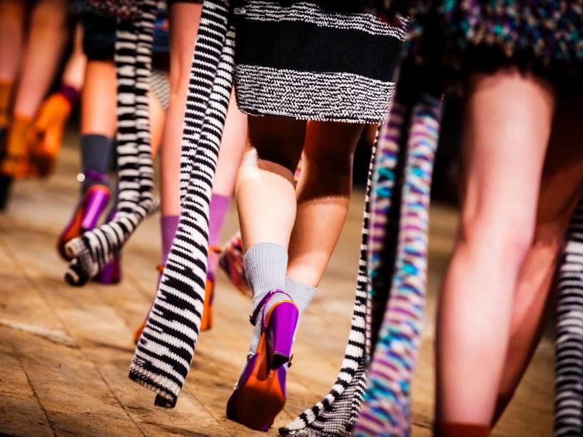 Modelos apresentam criações da Missoni, durante a Semana de Moda em Milão, na Itália