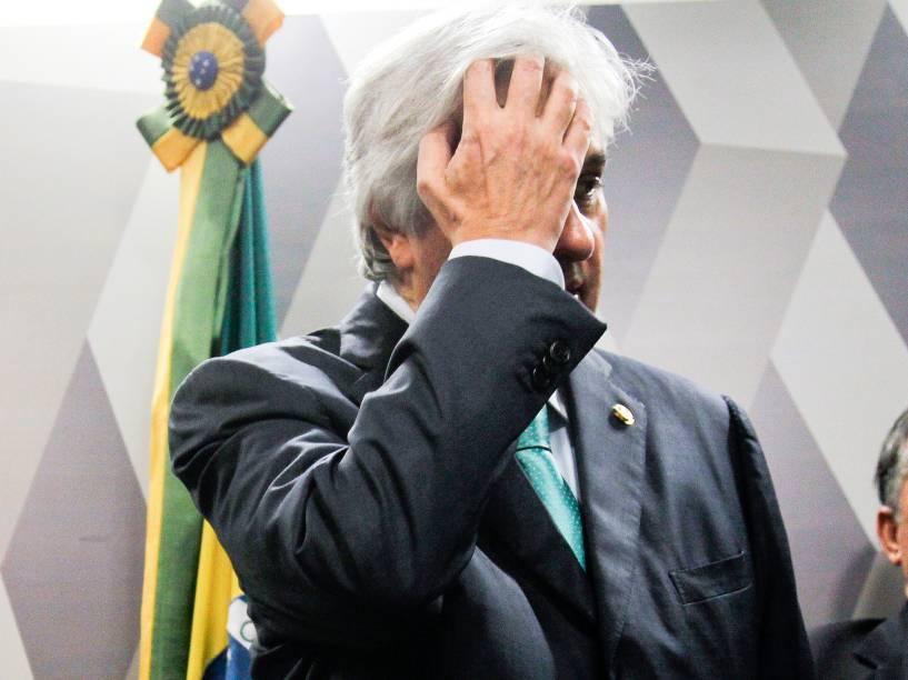 O senador Delcídio do Amaral, durante reunião do Conselho de Ética, em Brasília (DF) - 09/05/2016