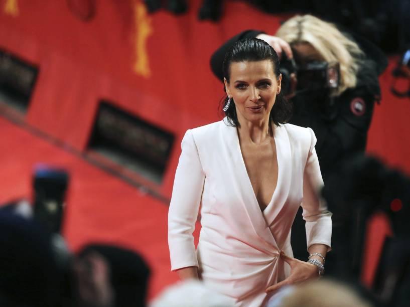 A atriz francesa Juliette Binoche durante a abertura da 65ª edição do Festival Internacional de Cinema de Berlim, nesta quinta-feira (05)