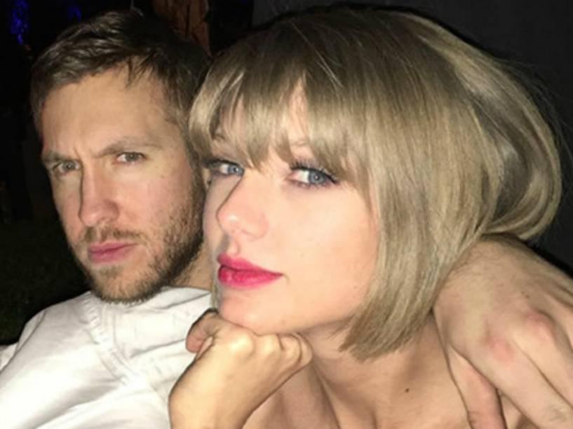 Taylor Swift com o namorado, Calvin Harris, na festa pós-Grammy