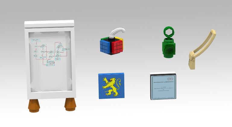 Peças para acompanhar os bonecos da Lego baseados nos personagens de The Big Bang Theory
