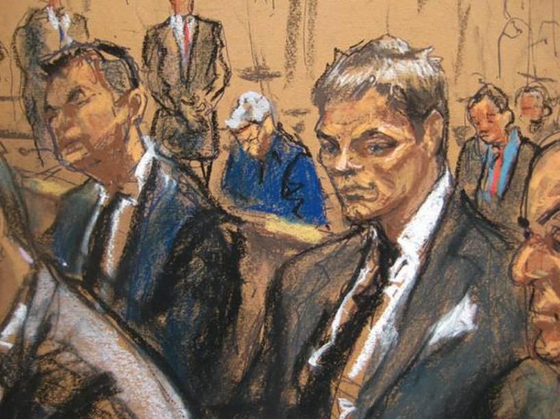 Retrato de Tom Brady feito por Jane Rosenberg em tribunal de NY