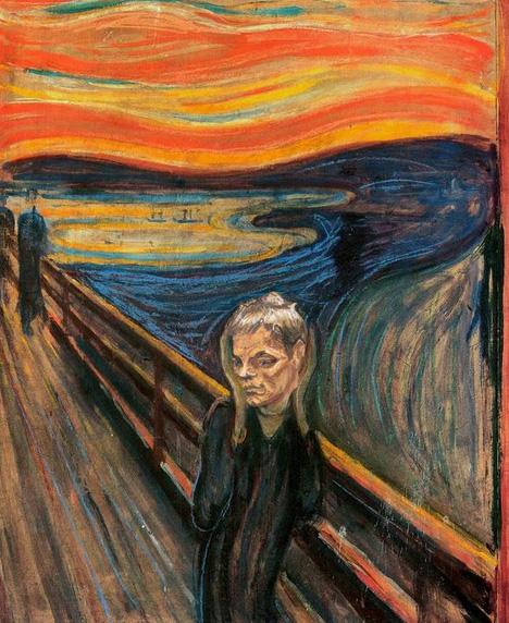 Meme do retrato de Tom Brady como personagem de O Grito (1893), pintura de Edvard Munch