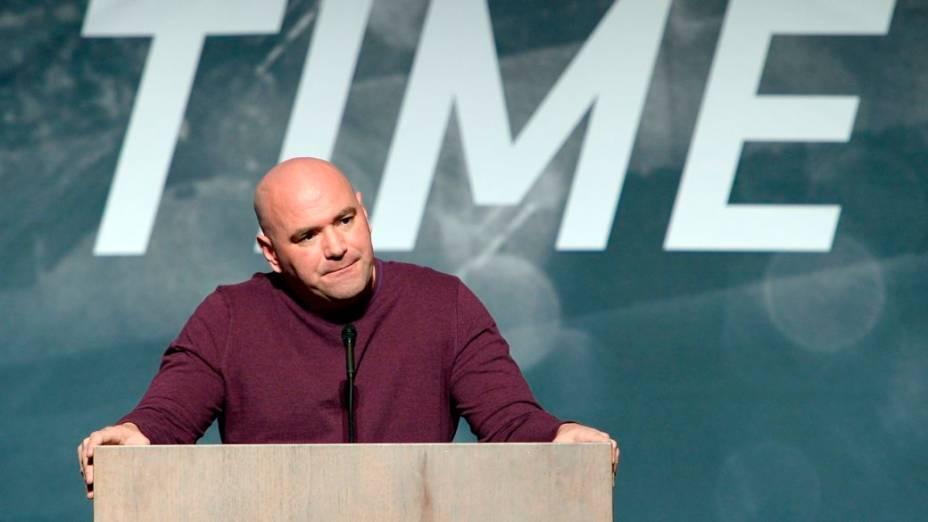Dana White no evento de divulgação da temporada 2015 do UFC, em Las Vegas