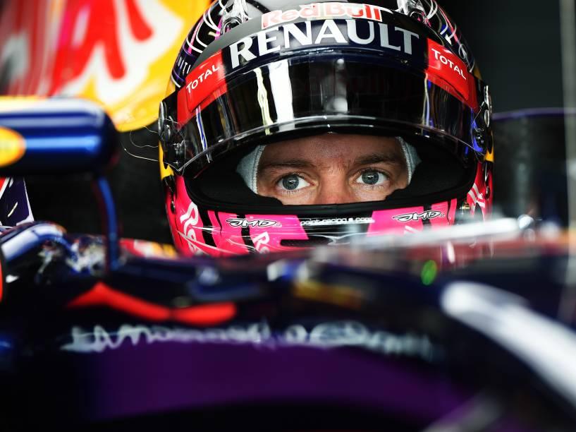 Sebastian Vettel durante treino classificatório para o Grande Prêmio do Brasil de Fórmula 1