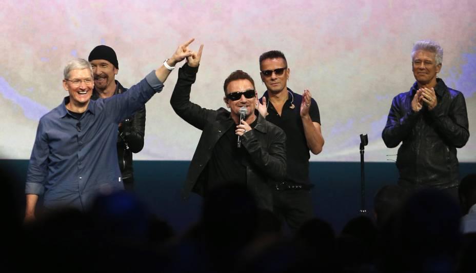Em dia de lançamentos, Apple traz U2 para apresentação em Cupertino, na Califórnia, Estados Unidos - 09/09/2014