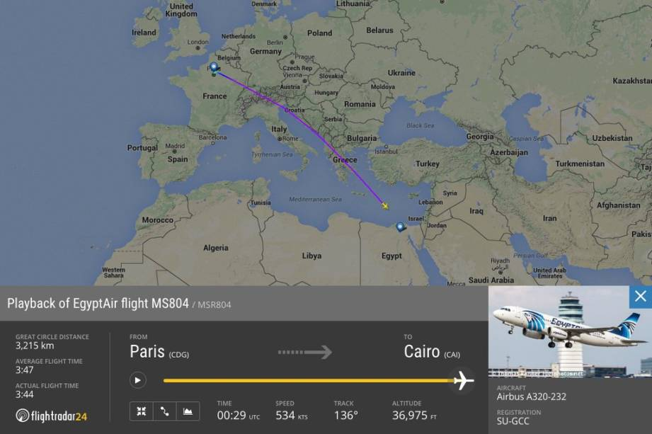 Imagem do site Flightradar24 mostra rota do voo MS804, que desapareceu sobre o Mediterrâneo