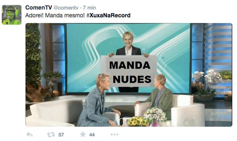 Meme da estreia do programa Xuxa Meneghel, na Record. Aqui, ela simula um bate-papo com a apresentadora americana Ellen Degeneres, que reconheceu ser seu modelo