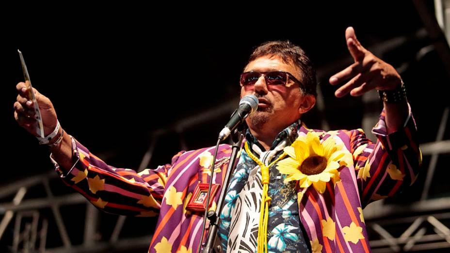 Humorista Falcão durante show na Praça da Sé