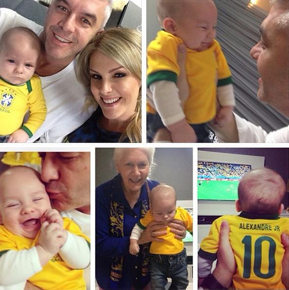 Ana Hickmann torce pelo Brasil com a família