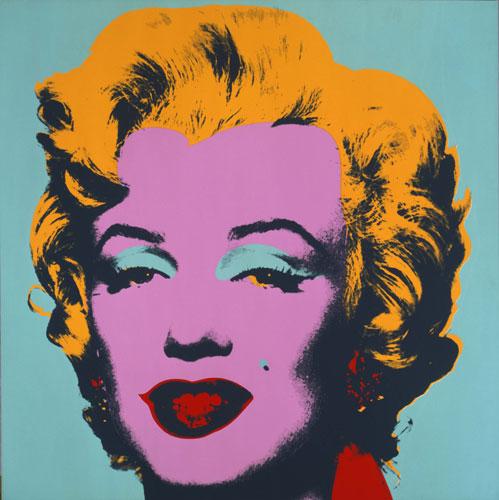 Um dos quadros mais conhecidos de Warhol, o retrato colorido de Marylin Monroe.