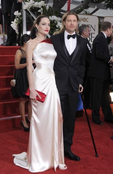 Angelina Jolie e Brad Pitt chegam ao Globo de Ouro 2012